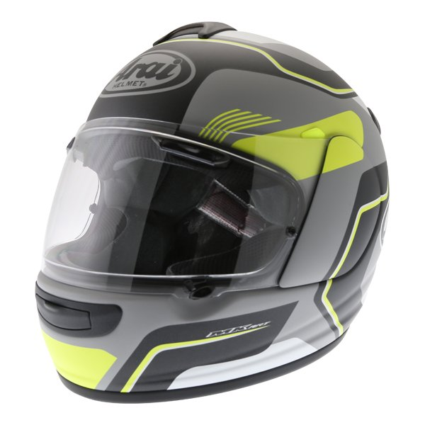Arai Axces III Sense Flo Yellow Full Face Motorcycle Helmet Front Left