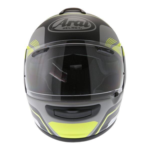 Arai Axces III Sense Flo Yellow Full Face Motorcycle Helmet Front