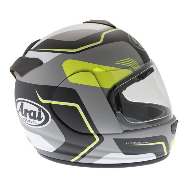Arai Axces III Sense Flo Yellow Full Face Motorcycle Helmet Right Side