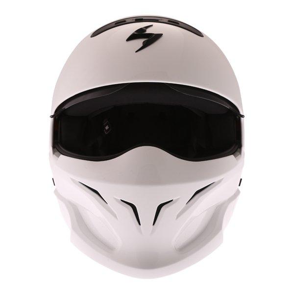 Scorpion Exo Combat White Motorcycle Helmet Front