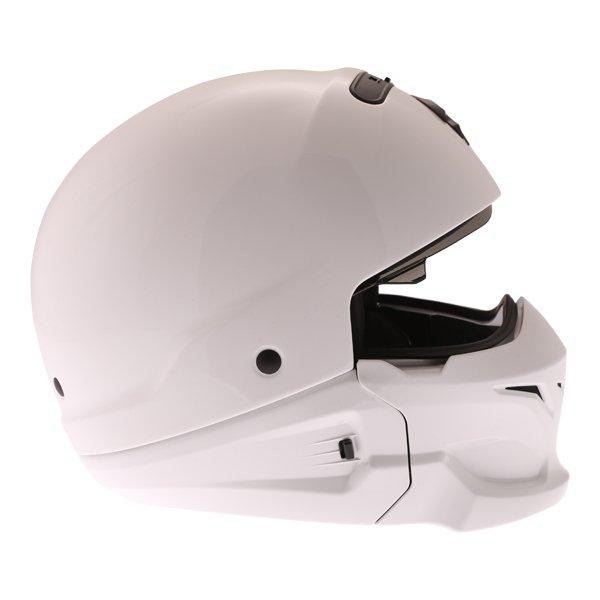 Scorpion Exo Combat White Motorcycle Helmet Right Side
