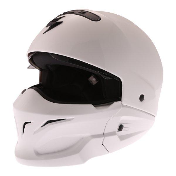 Scorpion Exo Combat White Motorcycle Helmet Visor Open