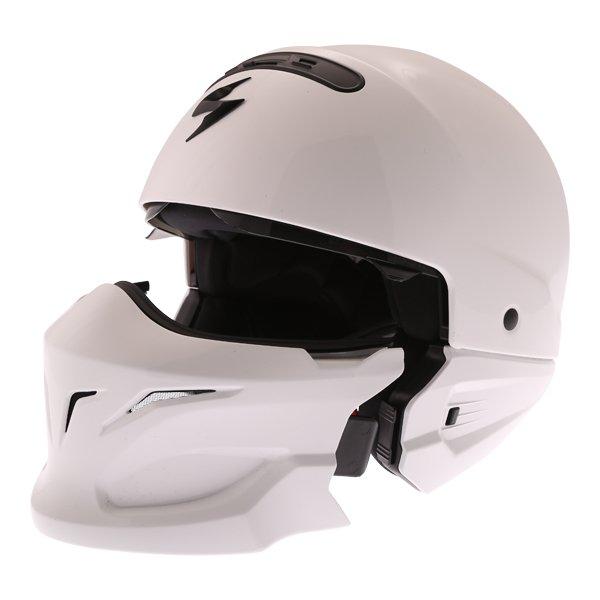 Scorpion Exo Combat White Helmet Motorcycle Removeable Chin Bar