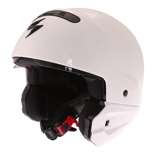 Scorpion Exo Combat White Motorcycle Helmet Open Face Mode