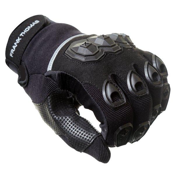 Frank Thomas Ridding Black Motorcycle Gloves Knuckle