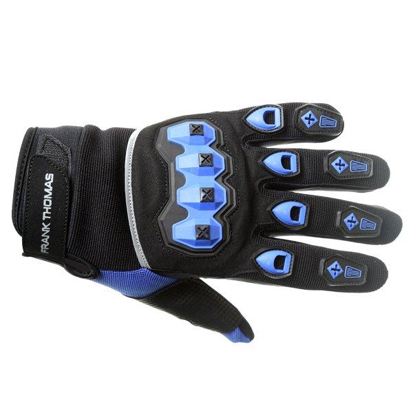 Frank Thomas FT88 Ridding Black and Blue Gloves Back