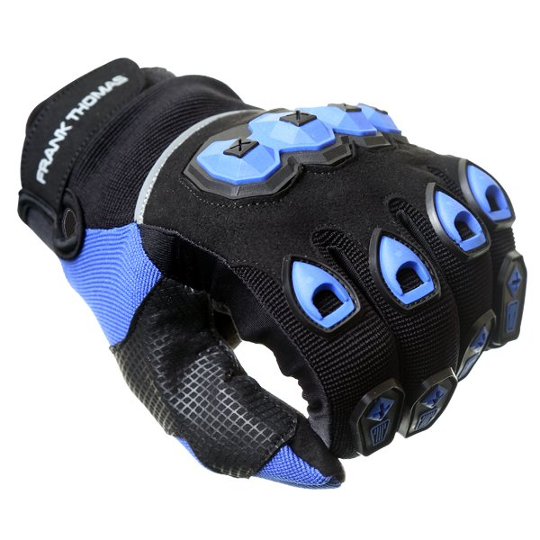 Frank Thomas FT88 Ridding Black and Blue Gloves Knuckle