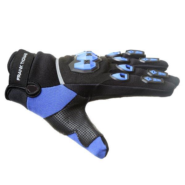 Frank Thomas FT88 Ridding Black and Blue Gloves Thumb side