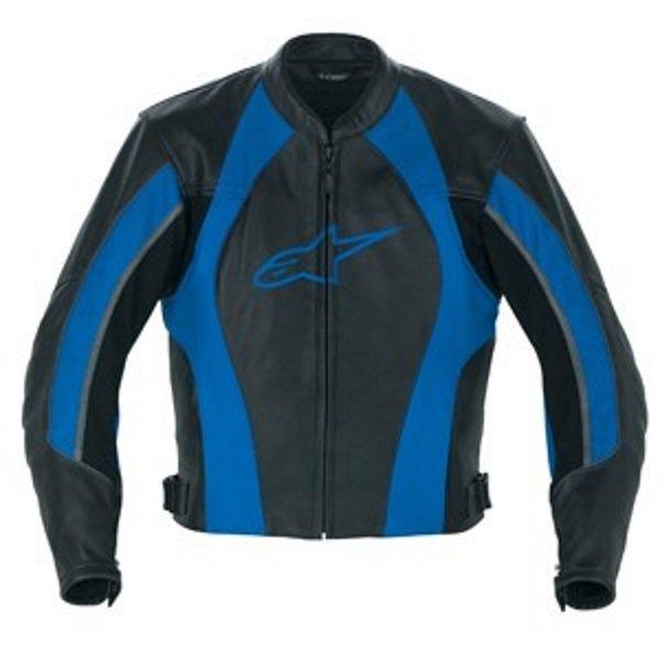 Alpinestars Octane Black Blue Leather Motorcycle Jacket Front
