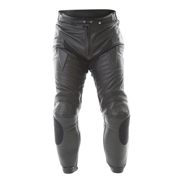 BKS BKS013 Lynx Mens Black Leather Motorcycle Jeans Front