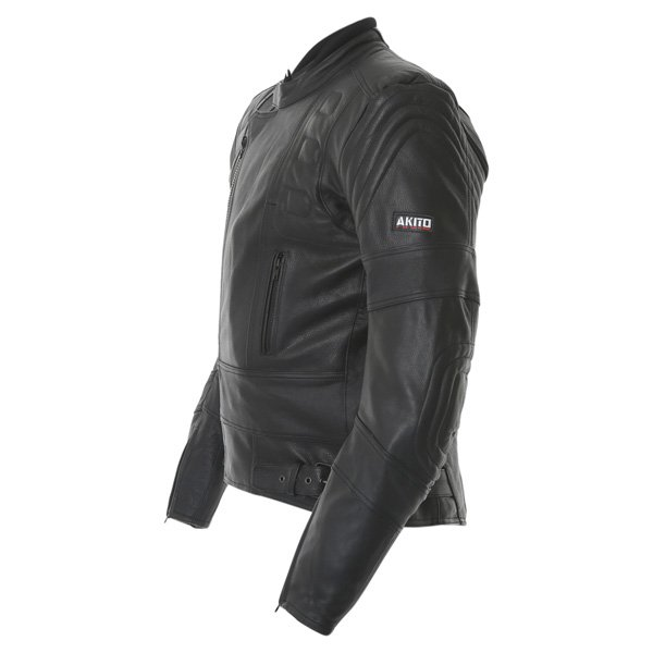 Akito 719 R Black Leather Motorcycle Jacket Side