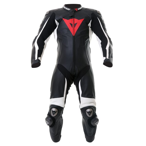 Dainese D-Air Racing Misano Estiva Mens Black White Leather Motorcycle Suit Front