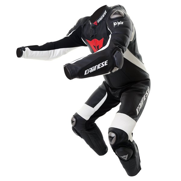 Dainese D-Air Racing Misano Estiva Mens Black White Leather Motorcycle Suit Racing crouch