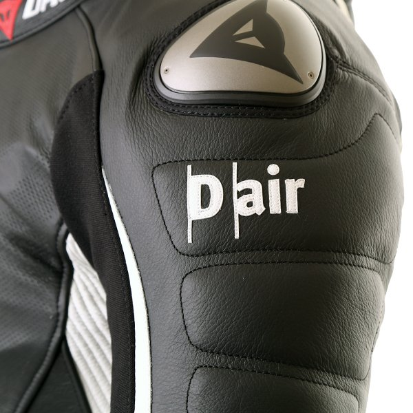Dainese D-Air Racing Misano Estiva Mens Black White Leather Motorcycle Suit D-Air Shoulder