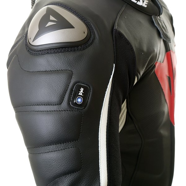 Dainese D-Air Racing Misano Estiva Mens Black White Leather Motorcycle Suit Indicator Lights