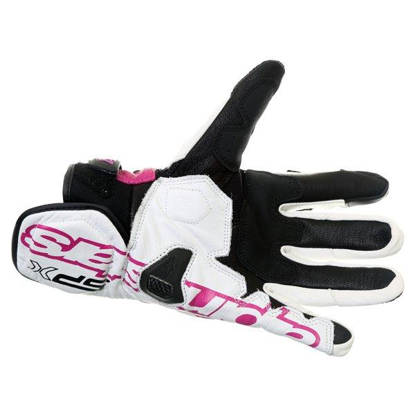 Alpinestars Stella SPX AC Ladies Black White Fuchsia Motorcycle Gloves Palm