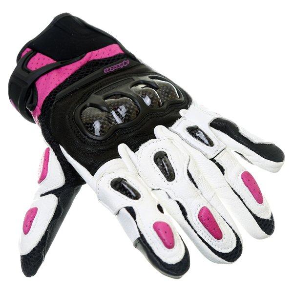 Alpinestars Stella SPX AC Ladies Black White Fuchsia Motorcycle Gloves Knuckle