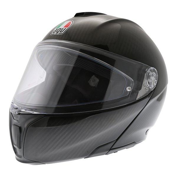 AGV Sport Modular Gloss Carbon Flip Front Motorcycle Helmet Front left