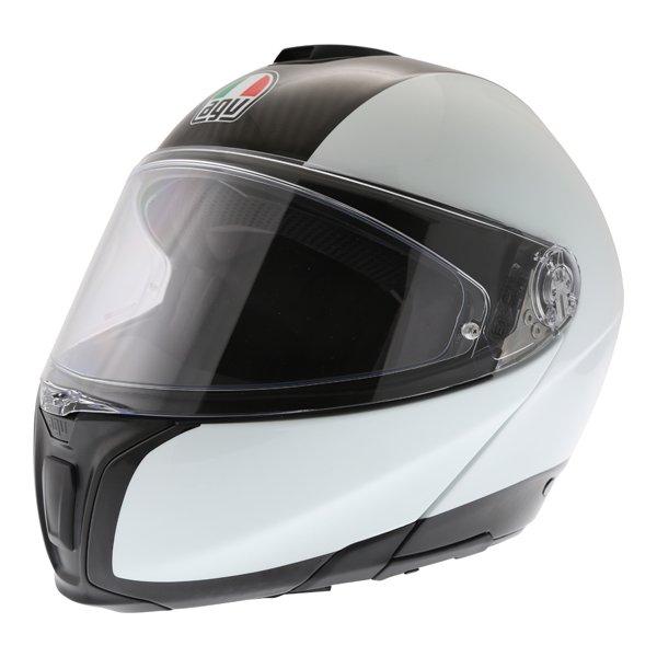 AGV Sport Modular Gloss Carbon White Flip Front Motorcycle Helmet Front left