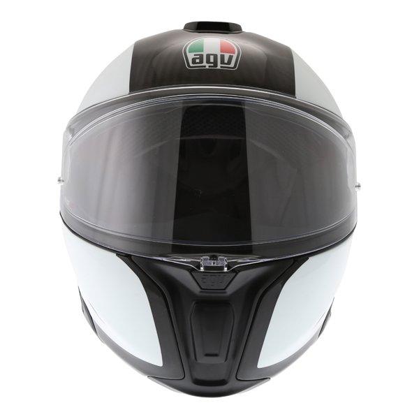 AGV Sport Modular Gloss Carbon White Flip Front Motorcycle Helmet Front