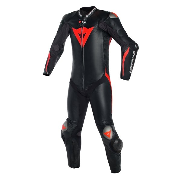 Dainese Tuta Mugello R D-Air Mens Black Black Red Fluo Leather Motorcycle Suit Front