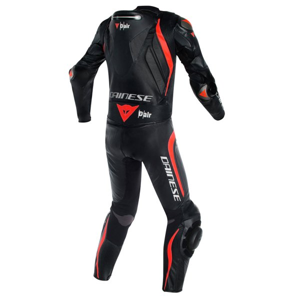 Dainese Tuta Mugello R D-Air Mens Black Black Red Fluo Leather Motorcycle Suit Rear