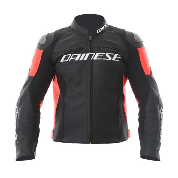 Dainese Racing 3 Black Fluo Red Leather Motorcycle Jacket Front