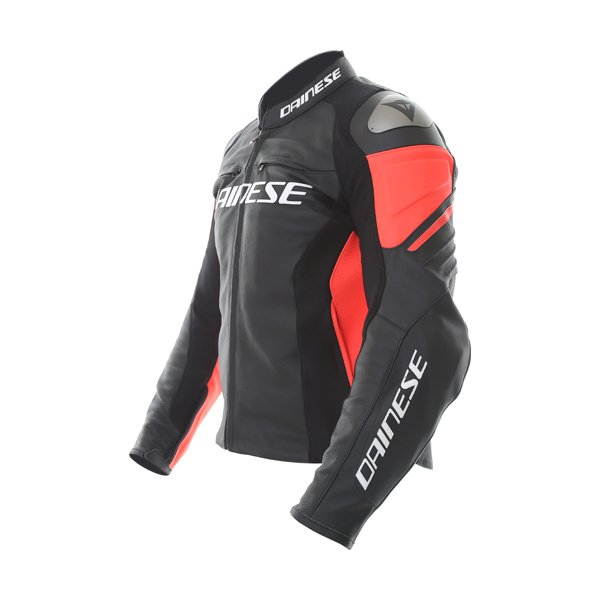 Dainese Racing 3 Black Fluo Red Leather Motorcycle Jacket Side