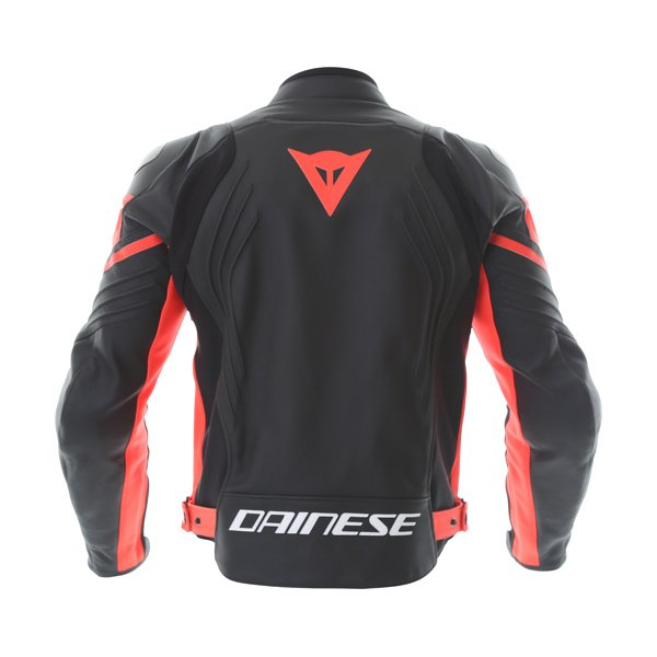 Dainese Racing 3 Black Fluo Red Leather Motorcycle Jacket Back