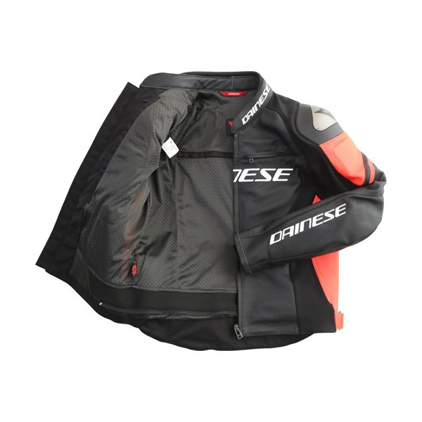 Dainese Racing 3 Black Fluo Red Leather Motorcycle Jacket Inside