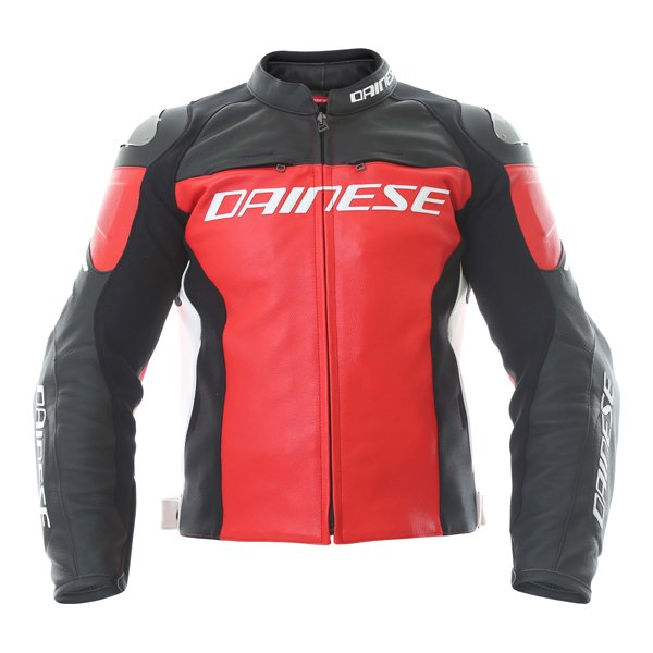 Dainese Racing 3 Red Black Leather Motorcycle Jacket Front