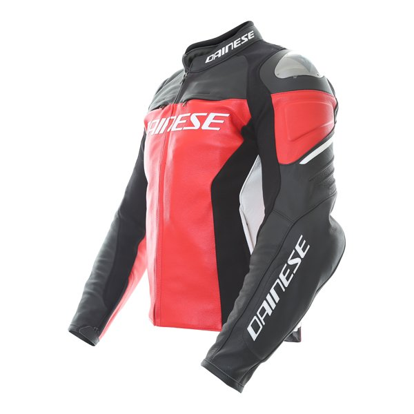 Dainese Racing 3 Red Black Leather Motorcycle Jacket Side