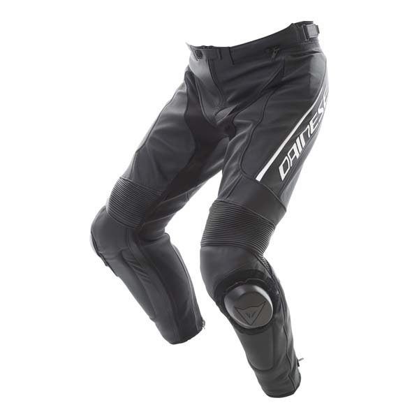 Dainese Delta 3 Black White Leather Motorcycle Pants Riding crouch