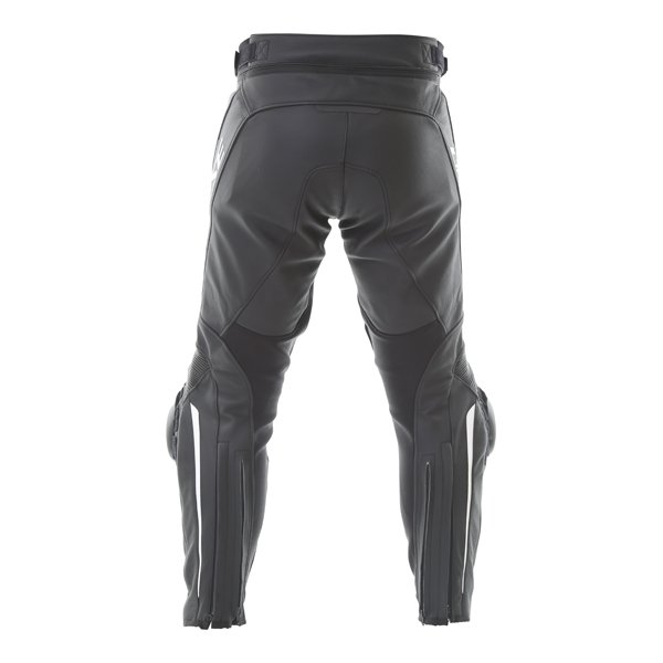 Dainese Delta 3 Black White Leather Motorcycle Pants Rear
