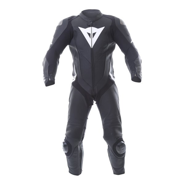 Dainese Laguna Seca 4 1pc Mens Black White Leather Motorcycle Suit Front