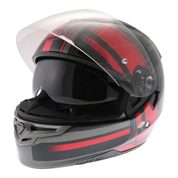 Bell RS2 Tactical Red Black Titanium Full Face Motorcycle Helmet Open With Sun Visor
