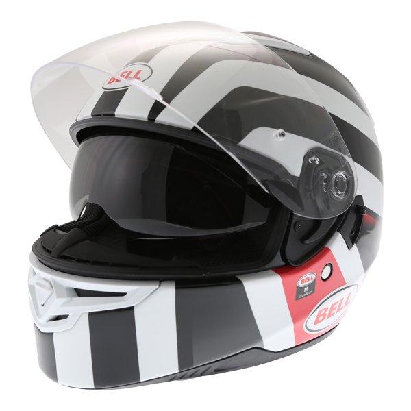 Bell RS2 Empire White Black Red Full Face Motorcycle Helmet Open With Sun Visor