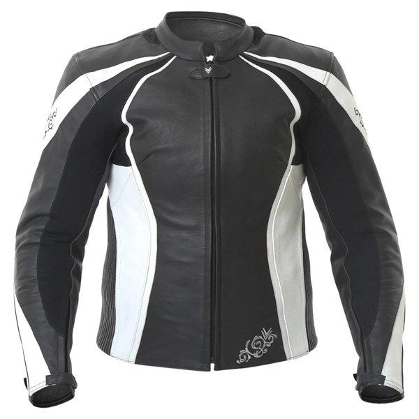 Frank Thomas FTL313 Venus Ladies Black White Leather Motorcycle Jacket Front