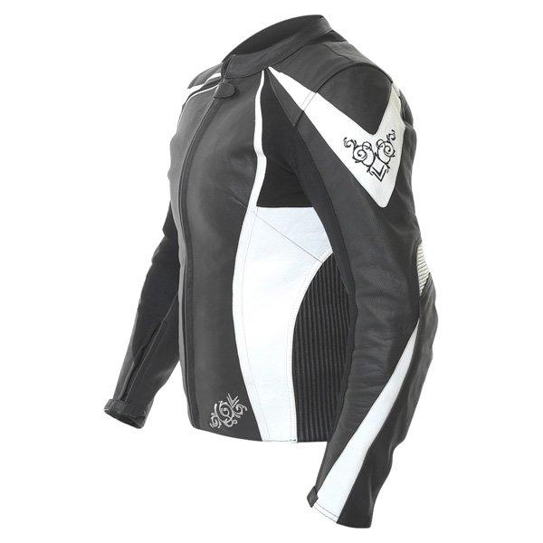 Frank Thomas FTL313 Venus Ladies Black White Leather Motorcycle Jacket Side