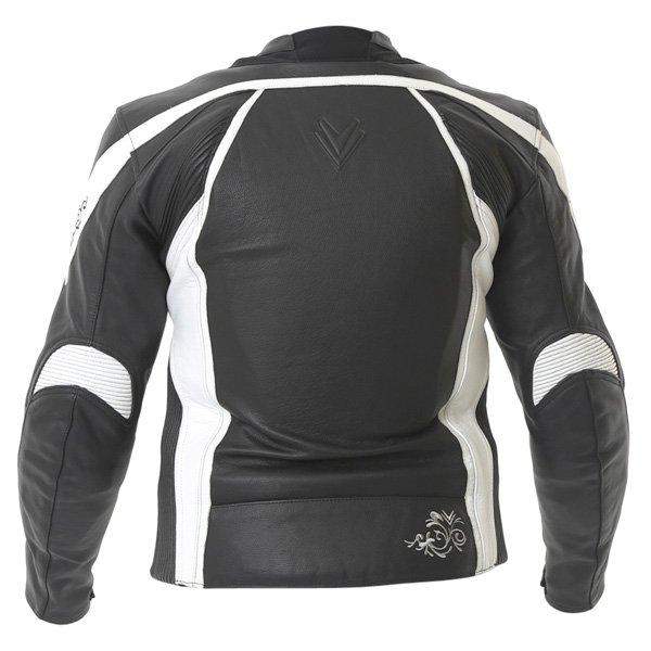 Frank Thomas FTL313 Venus Ladies Black White Leather Motorcycle Jacket Back