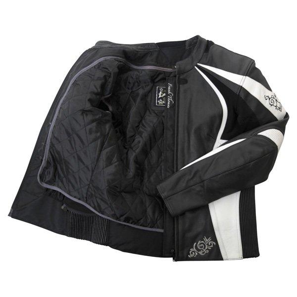 Frank Thomas FTL313 Venus Ladies Black White Leather Motorcycle Jacket Inside