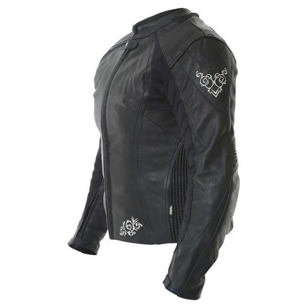 Frank Thomas FTL313 Venus Black Ladies Leather Motorcycle Jacket Side