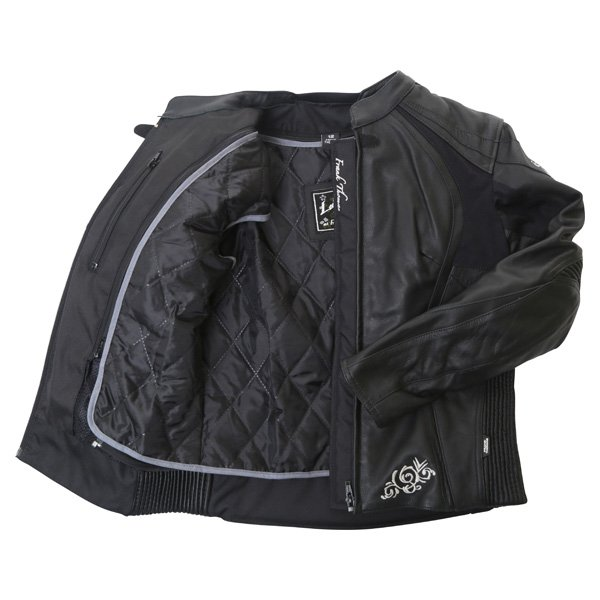 Frank Thomas FTL313 Venus Black Ladies Leather Motorcycle Jacket Inside