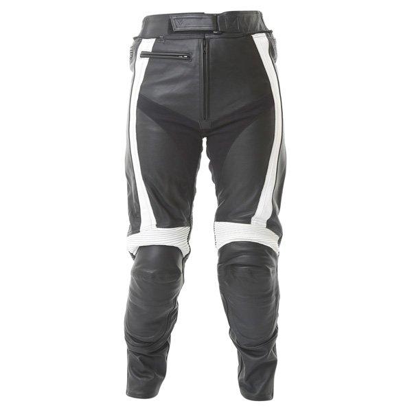 Frank Thomas FTL314 Venus Ladies Black White Leather Motorcycle Jeans Front