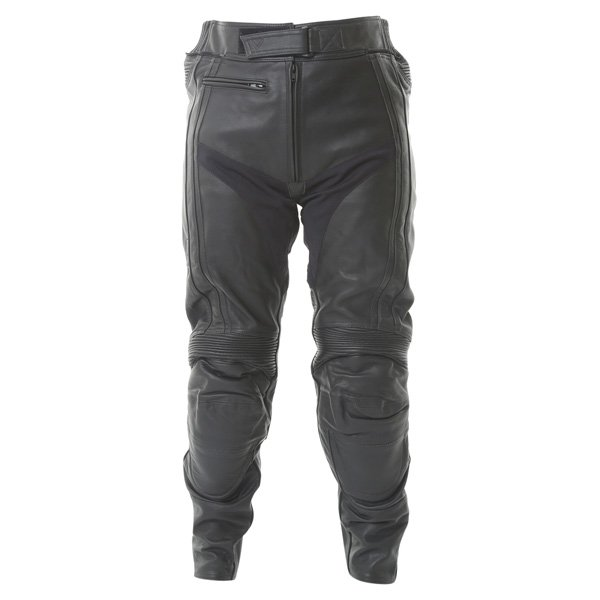 Frank Thomas FTL314 Venus Ladies Black Leather Motorcycle Jeans Front