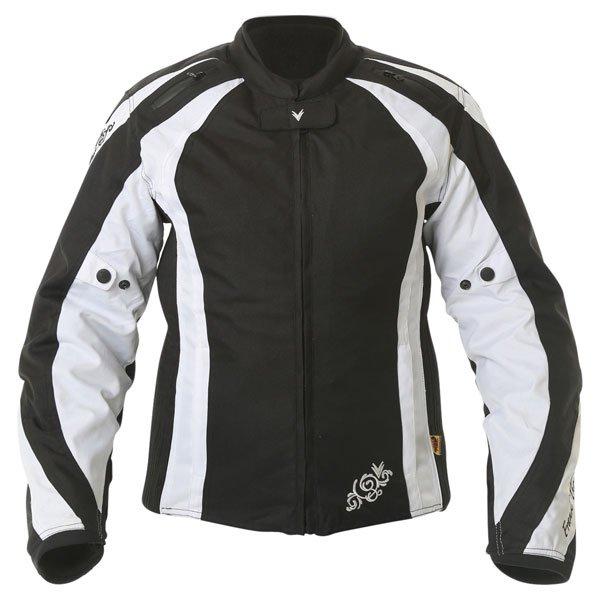 Frank Thomas FTW343 Venus Sport Ladies Black White Textile Motorcycle Jacket Front