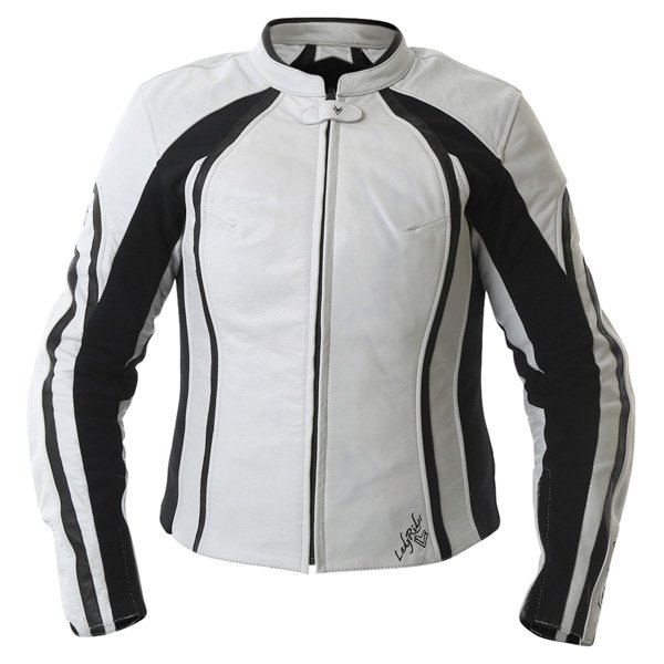 Frank Thomas FTL322 Elegance Ladies White Black Leather Motorcycle Jacket Front