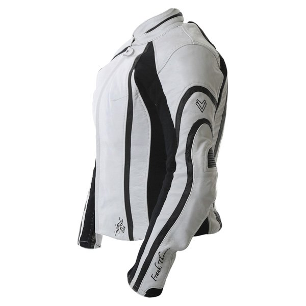Frank Thomas FTL322 Elegance Ladies White Black Leather Motorcycle Jacket Side