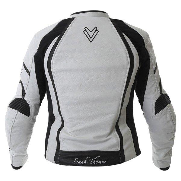 Frank Thomas FTL322 Elegance Ladies White Black Leather Motorcycle Jacket Back