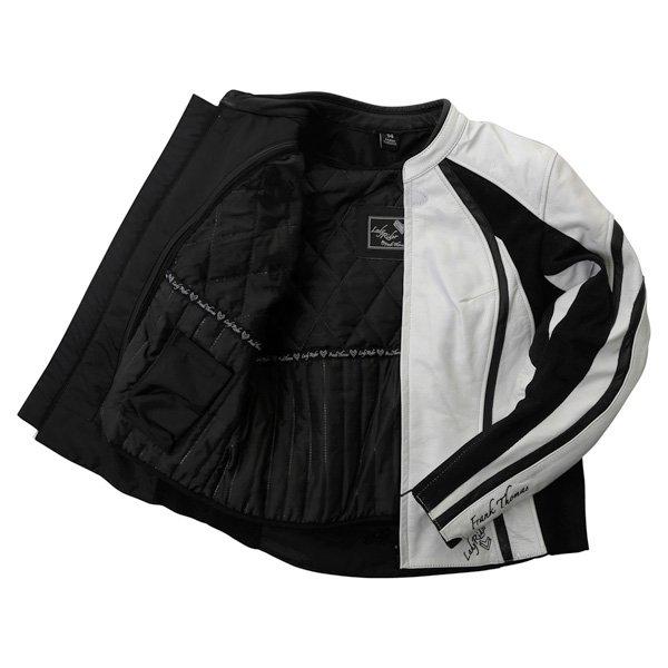 Frank Thomas FTL322 Elegance Ladies White Black Leather Motorcycle Jacket Inside